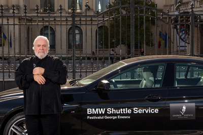 Gianluigi Gelmetti, Cavaliere di Gran Croce OMRI is an Italian conductor and composer at the Enescu Festival with a BMW VIP Shuttle. Photo by Florin Vitzman