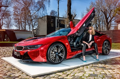 BMW i8 Proton Red and Beautiful Model. Photo by Florin Vitzman